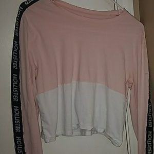 pink hollister cropped long sleeve t shirt